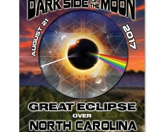 EC033 - North Carolina - Dark Side of the Moon Total Solar Eclipse 2017 Sticker (or MAGNET)