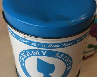 Vintage Blue and White Betty Anne Creamy Mints Tin, Retro Kitchen Decor