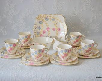 Floral Tuscan Tea Set, Vintage Bone China, Vintage Tuscan China, Hand Painted Floral Design, Wedding Tea Set, Wedding Favours, c 1930 s