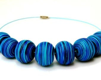 Blue stripe necklace String bead necklace Polymer clay bead necklace Handmade fimo jewelry Bead necklace jewelry READY TO SHIP necklace