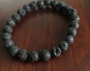 Lava Rock Bracelet. Black Lava Rock. Lava Rock Beads. Beaded Bracelet.
