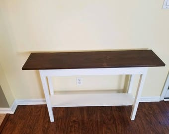 narrow farmhouse sofa table with bottom shelf foyer console entryway
