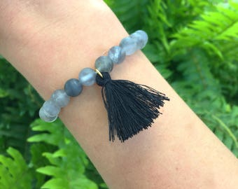 Gray Bracelet with Black Tassel