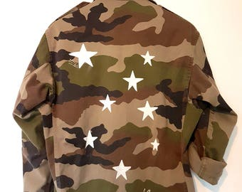 Genuine jacket military camouflage custom white stars