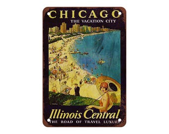 "Illinois Central Railroad to Chicago - Vintage Look Reproduction 9"" X 12"" Metal Sign"