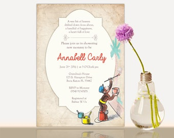 Curious George Baby Shower Invitation -Curious George Bridal Shower- Baby shower party invite-Girl or Boy- Gender Neutral- Thank you Card