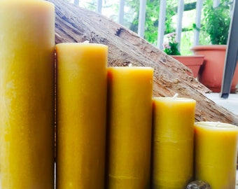 "100% Pure Beeswax Pillar candle-set of 5 beeswax candles-2"" diameter candle-handmade pure beeswax-pillar beeswax candles"