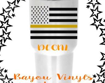 Gold line flag, Dispatcher flag, Thin gold line, Dispatcher decal, 911 dispatch decal, Dispatcher gift, Thin gold line flag, Dispatchers