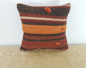 Turkish Striped Kilim Cushion 16x16 Bohemian Decor