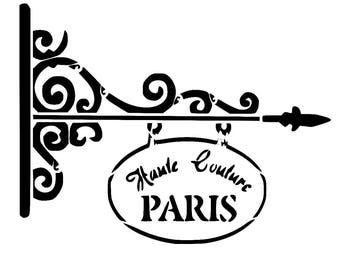 """11.7/16.5"""" Vintage paris sign stencil.  A3."""