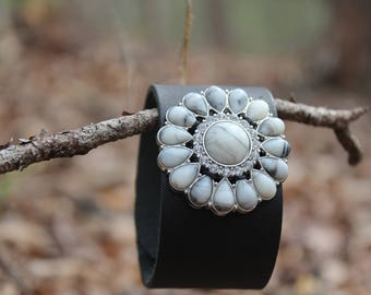 Leather Cuff with Upcycled Bling