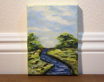 """Small Painting, """"Peaceful River"""" River Landscape Original Acrylic Painting on 5 x 7"""" Canvas, Wall Art"""