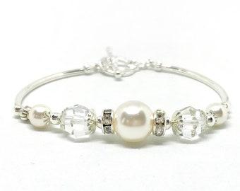 Bridesmaid Bracelet, Bridal Party Jewelry, Pearl & Rhinestone Bracelet