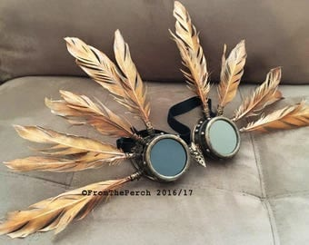 Burning Man Goggles, Steampunk Goggles, PHOENIX Goggles and headdress for Burners Playa Festivals EDM