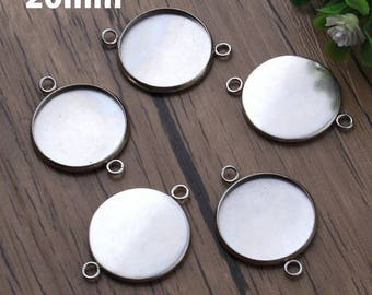 5pcs, 20mm Surgical Stainless Steel Cabochon Connector Settings, 20 mm Cabochons Bezel, Pendant Charm Necklace Bracelet Findings