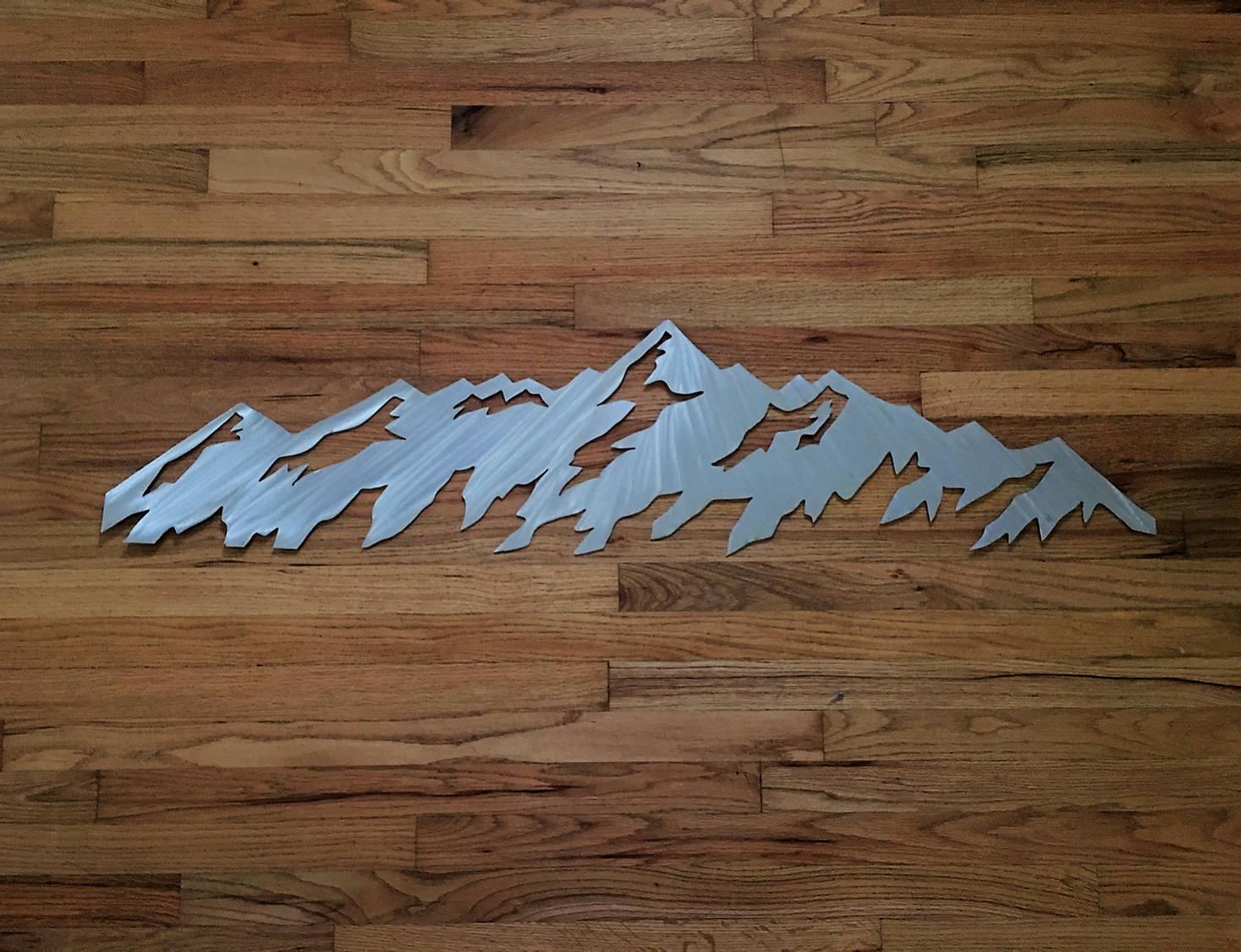 4 Foot Telluride Mountain Range Metal Wall Art