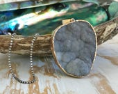 Black Ombre Druzy Agate Boho Necklace|Long Mixed Metal Necklace|Gold and Antique Silver Jewelry|Galaxy Druzy Pendant|Bohemian Necklace
