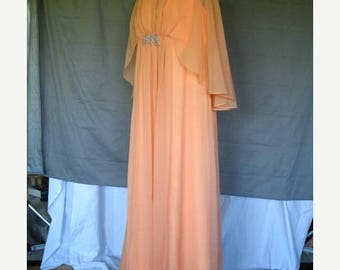 On Sale 1970's Empire Waist Gown Coral Chiffon Formal Evening Maxi Dress Drape Beads Mother of the Bride