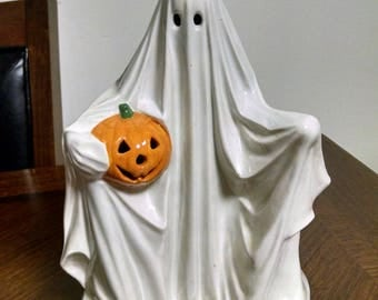 Vintage 1970's Ceramic Ghost with a Pumpkin Light