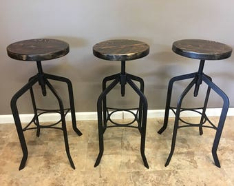 Set of 3 |  Reclaimed Wood Counter/Bar Height Stool with Swivel Seat | Industrial Urban Bar Stool