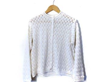 Vintage cardigan/vintage knit sweater/60s Cardigan/Size Medium