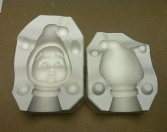 Vintage Estate Tweedle Dum Head Porcelain Doll Ceramic Mold 2645 Bell Molds G4