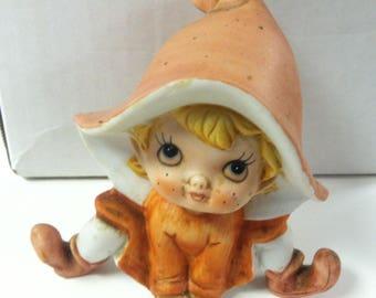 "Vintage 1980's HOMCO Handpainted Ceramic Pixie Fairy Orange Tangerine Figurine 4.5"" Figure 5213"