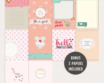 Newborn baby girl - Journal Cards - Instant Download Printable journaling cards for Project Life and digital scrapbooking