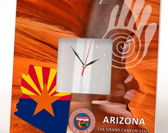 Arizona State Wall Clock Framed Mirror Grand Canyon Home Room Seal Map Flag Art Printed Decor Wooden Design USA Patriotic Homeland Rustic