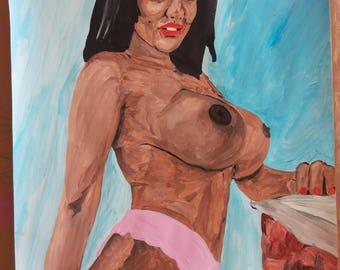 """dessin peinture acrylique nu feminin erotique fine art  """"Black""""   A3"""