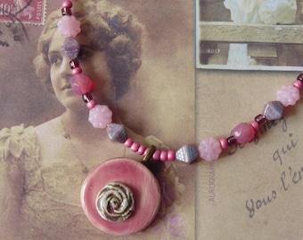 Womens Beaded Necklace Flower Pendant, Vintage Shabby Chic Romantic Pink, Flower Cabochon, Ceramic Pendant, Handmade, Teen Girls Gift