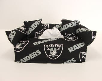 Oakland Raiders NFL Licensed fabric tissue box cover.