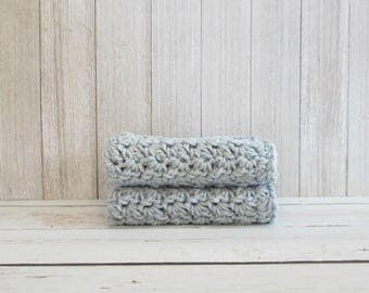 "10"" x 10"" Large Crochet Dishcloths - Set of 2 Gray Dishcloths - Cotton Dishcloths or Washcloths"