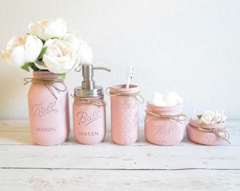 Gentil Mason Jar Bathroom Set   Pink Bathroom Set   Painted Mason Jars   Mason Jar  Decor