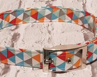 Handmade geometrical dog collar with silver metal buckle