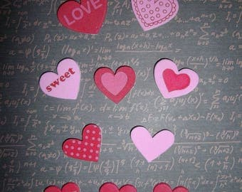 set of 10 pink/red foam hearts