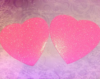 2 stickers stickers hearts foam and glitter