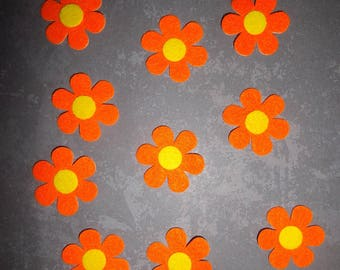 set of 10 orange/yellow felt flowers