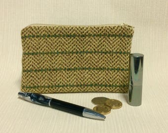 Welsh tweed zipped coin purse/change purse in yellow and green