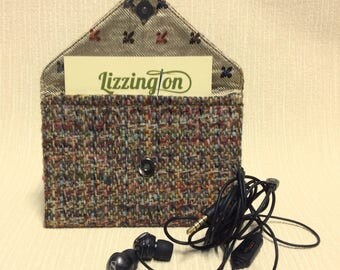 Welsh tweed business card case/headphone case/pouch in multi coloured weave