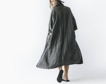 LINEN kimono gray OVERSIZED grey LOOSE coat