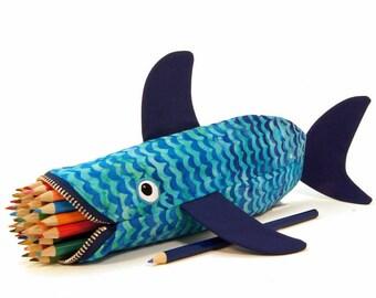 Kids Pouch - Shark Bag - Art Supplies - Blue Pencil Case - Fish Purse - Childs Zipper Pouch - Desk Toy Accessory - Personalized Kids Bag