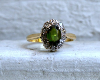 Vintage 18K Yellow Gold Diamond and Tourmaline Halo Ring Engagement Ring - 1.05ct.