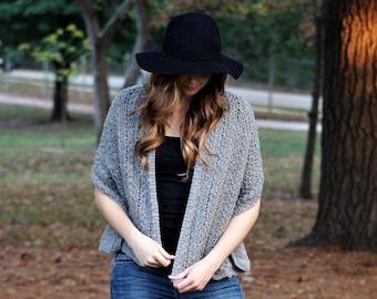 Slate Grey Shawl, Hand Knit