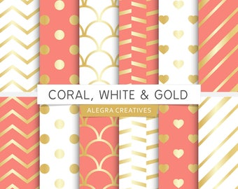 Coral, White & Gold digital paper, gold, coral and gold, white and gold, gold gradient, wedding, scrapbook papers (Instant Download)