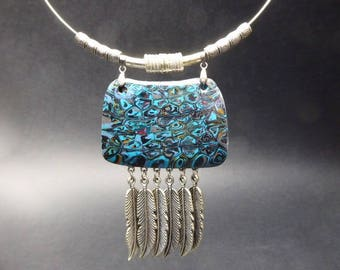 Inspired necklace with silver-plated feathers cheyenne