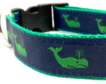 Preppy Whale Dog Collar | Preppy Whale Harness & Leash | Nautical Dog Collar | Blue Dog Collar | Preppy Dog Harness | Whale Harness