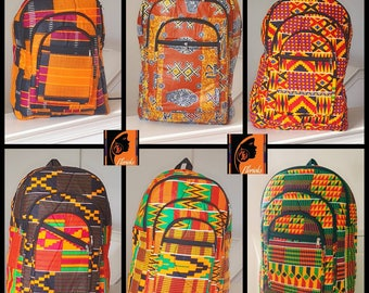 Kente Print, African Print Backpacks- 4 Different Patterns Available