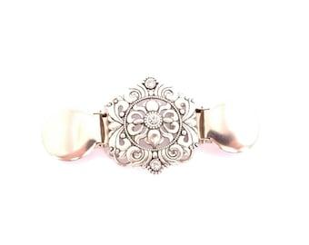 Sweater clip - dress clip - Carly clip - cinch clip - dress accessory - silver color