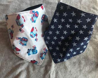 Patriotic Star/Owls bandana bib